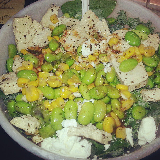 Edamame salad: spring mix salad, kale, edamame, goat cheese, corn. #lunch #salad #greens #veggies #healthyeating #instagood