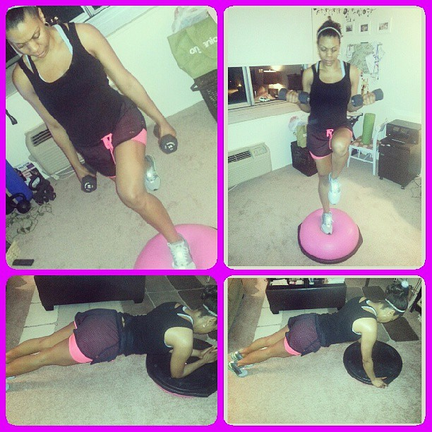 #BOSU workout:) Worked on my legs with front lunges and leg raises (added 10lb weights for an extra challenge). Then attacked my core with BOSU planks.  #fitness #summerready #summer #workout #tone #healthy