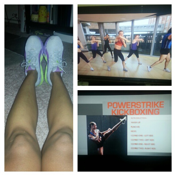Tonight I kept my workout at home with #Powerstrike #Kickboxing! #sweat #fitness #workout #fititin