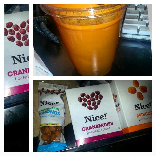 Healthy snacking at work. #healthyeating #healthbars #fruitjuice #almonds #craisins #driedfruit #duanereade