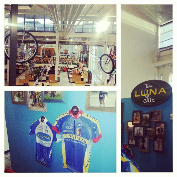 Inside the @luna_bar / @cliffbar offices. It includes a #gym! #lunachixsummit #worklife #work #attheoffice #workspace #instagram