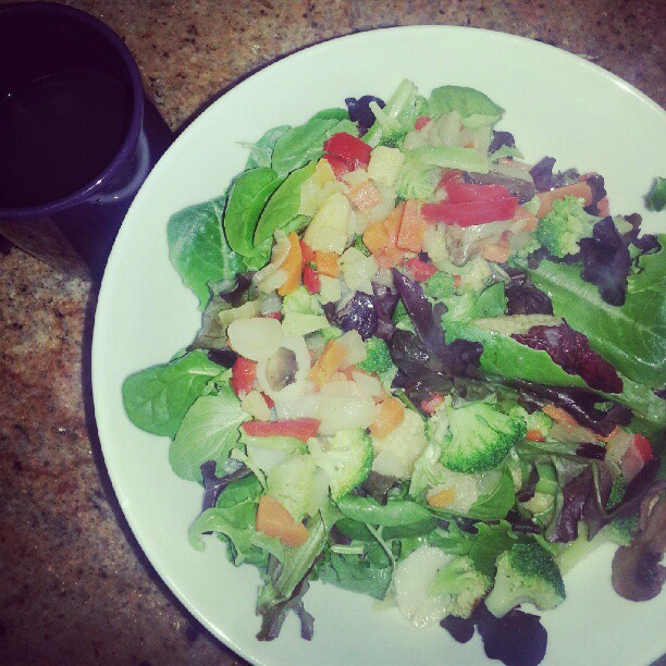 Colorful salad with ginger tea. #healthyeating #health #fit
