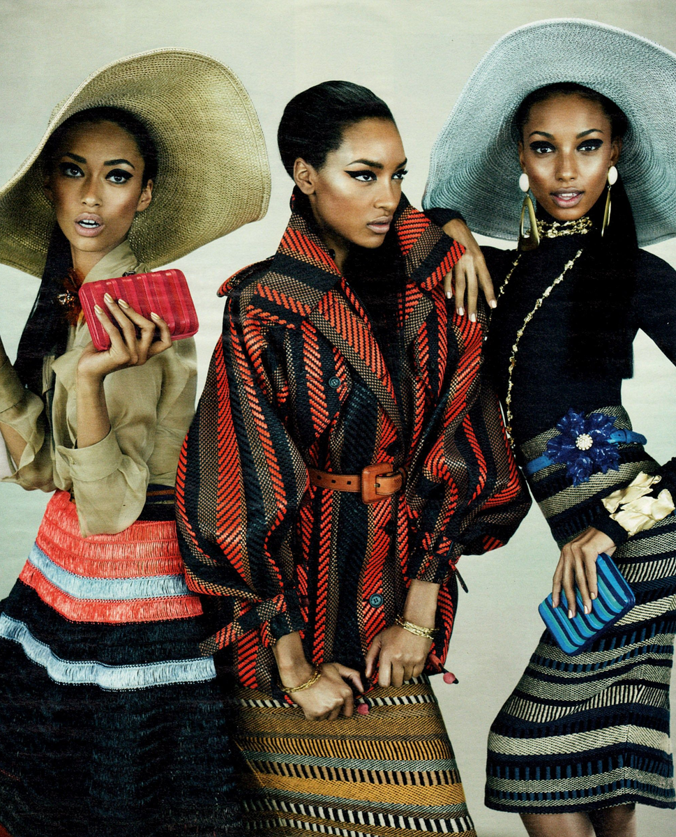 Anais Mali, Jasmine Tookes, and Jourdan Dunn for W Magazine, March 2012. Photographed by Emma Summerton, Style By Giovanna Battaglia