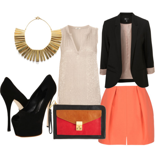 Networking with Style  by  nadiabgr  featuring  gold jewelry       L Agence knit top , $450  Black blazer , $130  Carven mini skirt , $250  Giuseppe Zanotti leather shoes , $795  3 1 Phillip Lim clutch bag , $425  Noir Jewelry gold jewelry