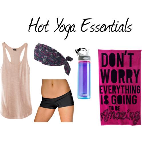 Hot Yoga The Right Way  by  nadiabgr  featuring  racer back tank tops       H M racer back tank top , £4.99  VATA Brasil Medium Support Yoga Shorts , $56  Fat Face headbands hair accessory , £7.50  Hang Ten Don't Worry Beach Towel , $11  CamelBak Better Bottle Insulated Water Bottle - .6L from… , $20