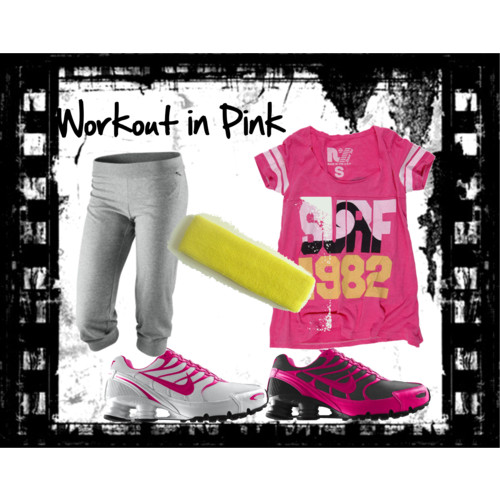 Workout In Pink by nadiabgr featuring wide athletic shoes Rebel Yell scoop neck shirt, $73 Nike, $38 Nike wide athletic shoes, $140 Nike narrow tennis shoes, $140