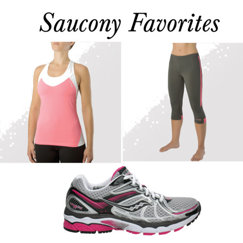 workout gear  by  nadiabgr  on  Polyvore.com       Saucony Women's ProGrid Hurricane 13   Saucony Women's Ignite Tight Capri II   Saucony Women's Ignite LT Shimmel