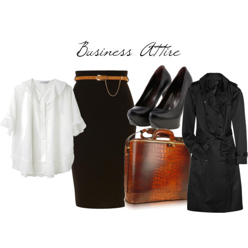 Business Attire  by  nadiabgr  featuring  croco bags       Tsumori Chisato ruffle top , $283  Burberry Prorsum double breasted coat , $1,895  Jane Norman belted skirt , £28  Flavia Stoian peep toe heels , €150  Pratesi croco bag , $798