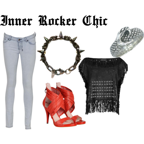 Rocker Chic by nadiabgr featuring snake jewelry All Saints fringe top, $295 Ksubi faded jeans, $299 Miss Sixty heeled sandals, $107 Zoe Morgan snake jewelry, $219 Joomi Lim logos jewelry, $185