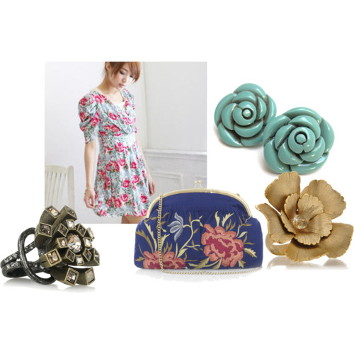 All Things Floral by NadiaBGR featuring gold rings Blue dress, $32 Jigsaw vintage clutch, £39 Turquoise earrings, $9.99 Citrine By The Stones gold ring, €63 Lanvin brass ring, $470