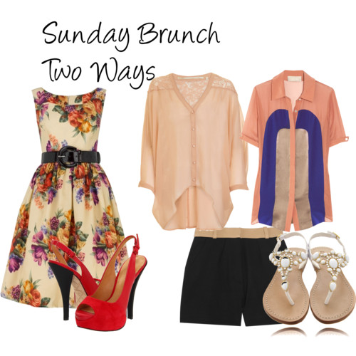 Sunday Brunch Two Ways  by  NadiaBGR  featuring a  tea dress       Tea dress , £455  Jason Wu collared shirt , $895  Twelfth Street by Cynthia Vincent v neck shirt , $296  Maje twill shorts , $195  L.A.M.B. platform heels , $245  Mystique white flat sandals , €155