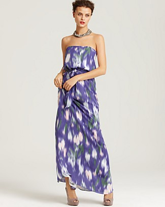 Shoshanna Strapless Monet Floral Silk Maxi Dress