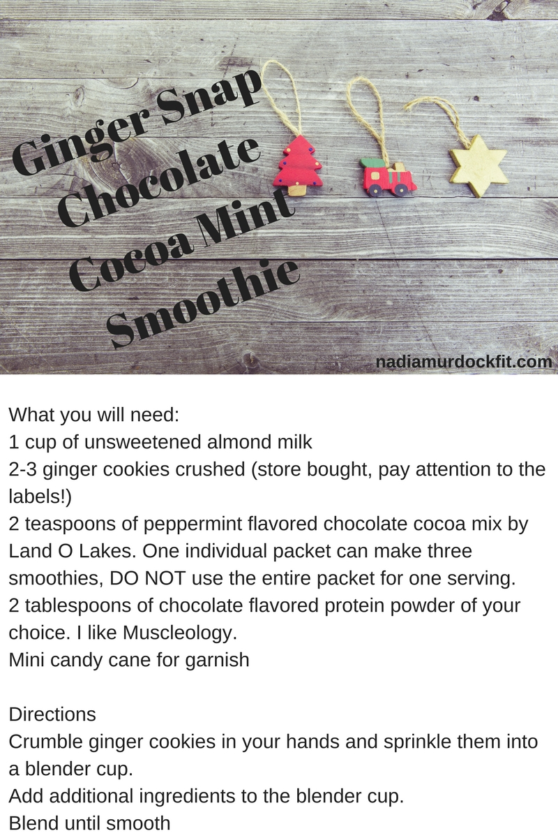 Ginger Snap Chocolate Cocoa Mint SmoothieWhat you will need-1 cup of unsweetened almond milk2-3 ginger cookies crushed (store bought, pay attention to the labels!)2 teaspoons of peppermint flavored chocolate cocoa mi.jpg