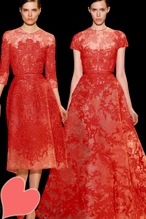 Full red lace evening gown by Ellie Saab - Simple with a touch of elegance