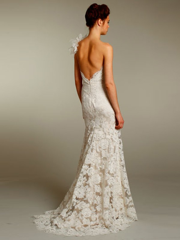 Full french corded lace plunging low back wedding gown with a touch of sexiness and romanticism