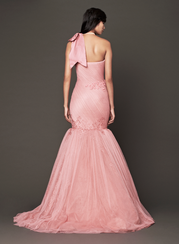 Pink as sensual, pink as seductive, pink as dreamy, pink as sophisticated, pink as strong, pink as cool. Think pink! Look 1: Petal strapless silk mermaid gown with organic flower detail accented by tulle hand draping and cascading bias cut silk organza flanges.  - See more at: http://www.verawang.com/veraunveiled/2013/10/fall-2014-bridal-run-of-show/#sthash.RT5lMUOB.dpuf