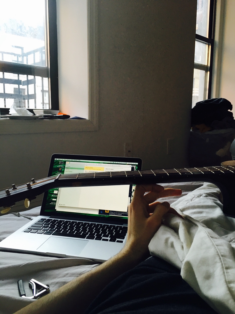 Still injured, but writing Song One lyrics in bed.