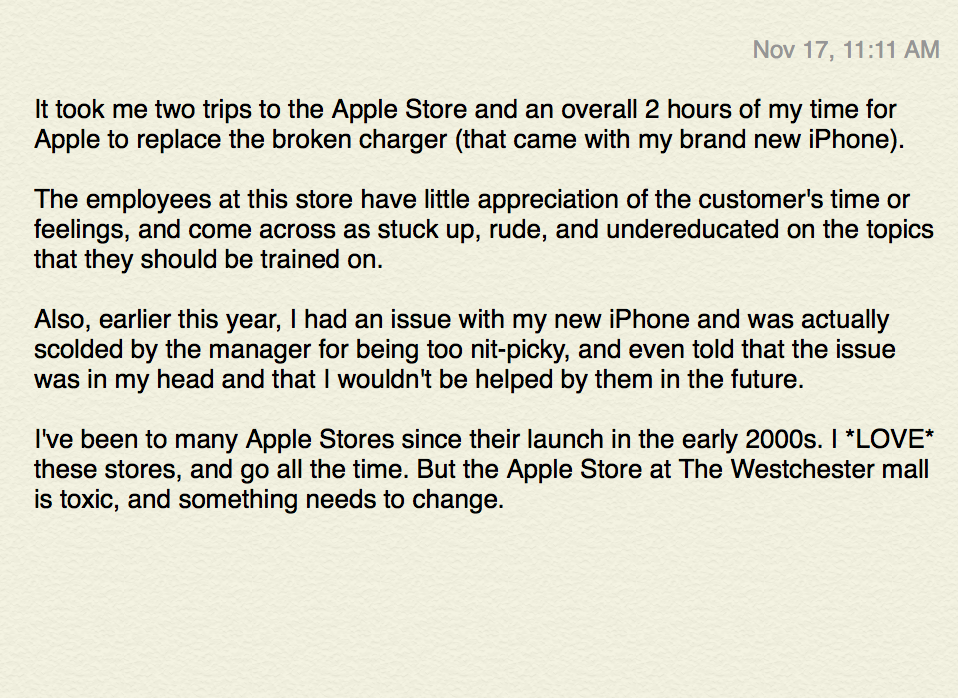 Apple asked me how my experience at The Westchester Apple Retail Store was. I responded. November 17, 2013