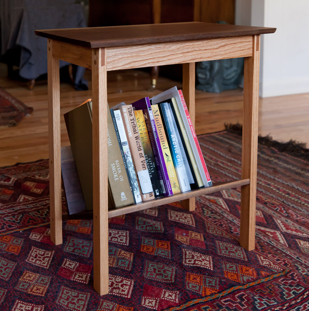 Bedside Table with Angled Bookshelf