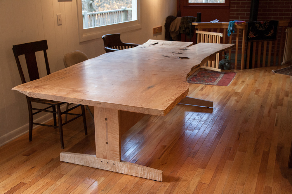Dining Table: Live Edge Sugar Maple & Curly Maple with Walnut Bowtie Inlays
