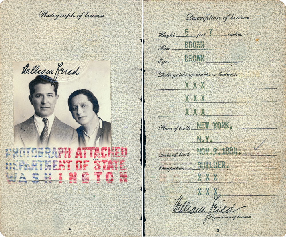 Bill Fried Passport with Tina Included as Wife...
