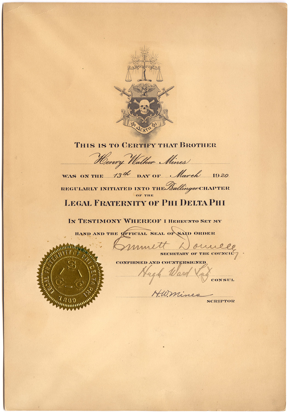 Henry Walker Mines - Phi Delta Phi Legal Fraternity - 1920