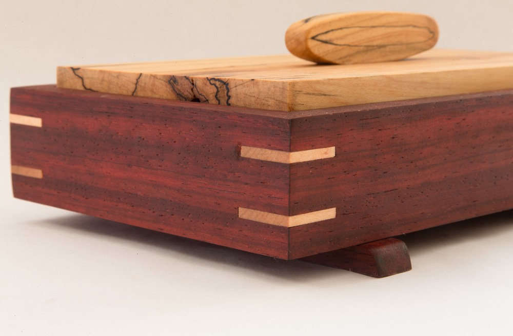 Cocobolo and Spalted Maple Box with Maple Splines