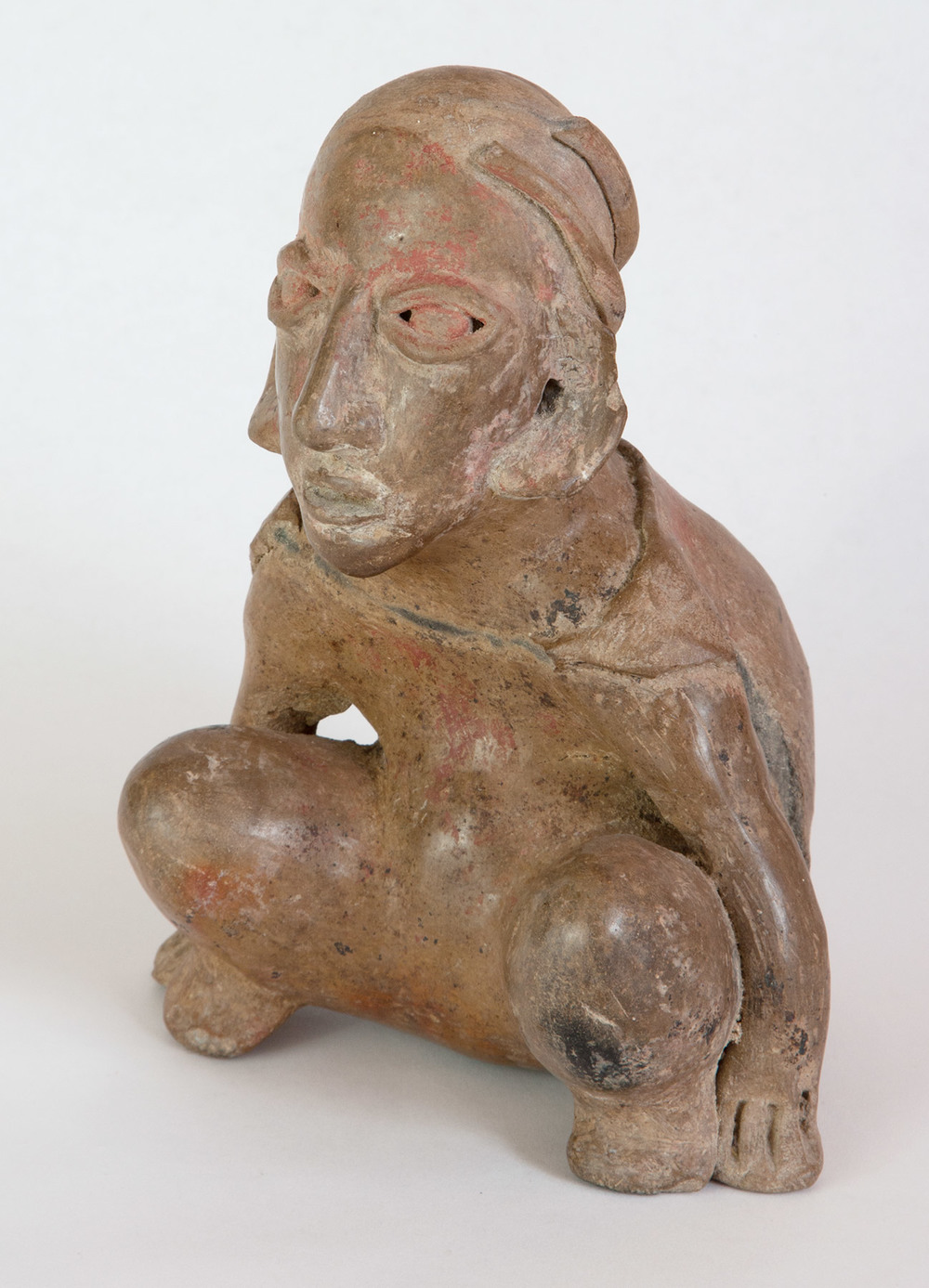 "Jalisco buff terracotta figure representing a crouching dwarf 200 BC-200 AD 7-1/2"" high"