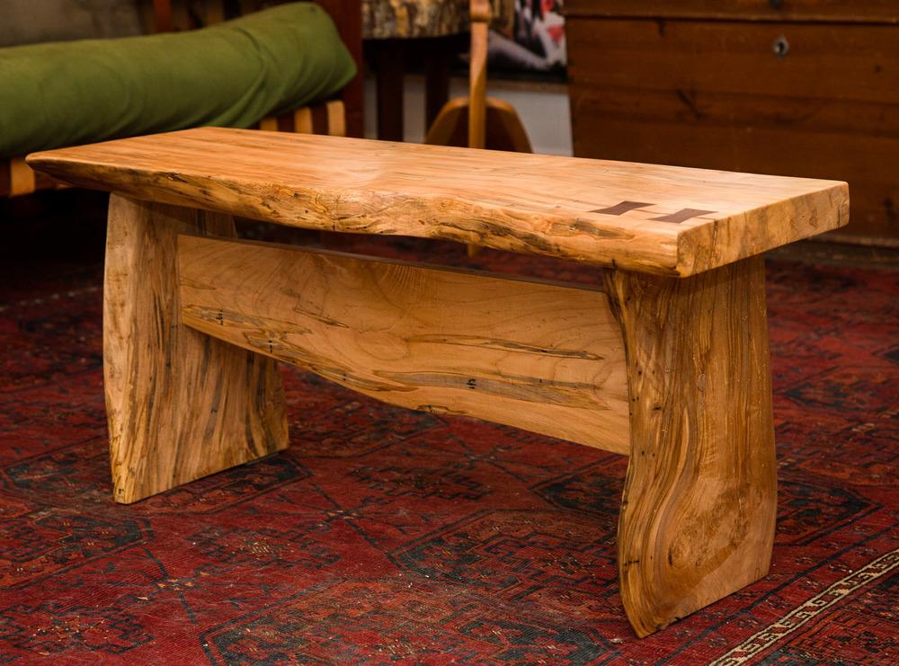 Ambrosia Maple Bench with Walnut Bowtie Inlays