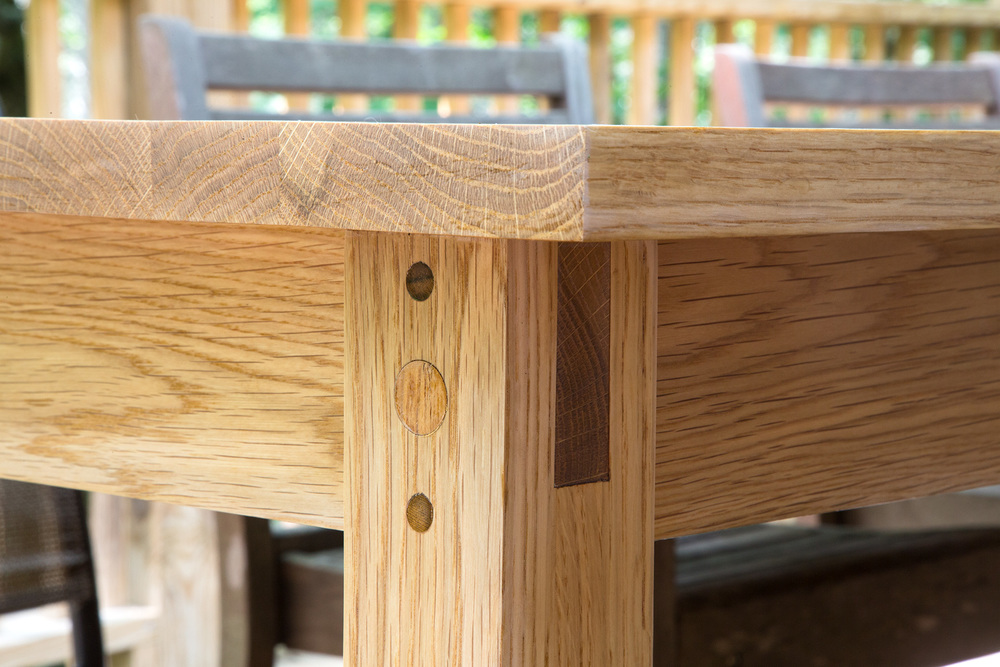 White Oak Outdoor Dining Table -- Detail