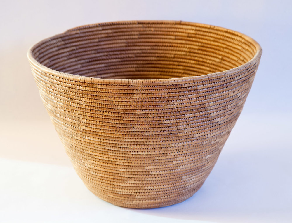 "Navajo coiled rush basket. c. 1880 8-1/2"" high x 13-1/2"" dia."