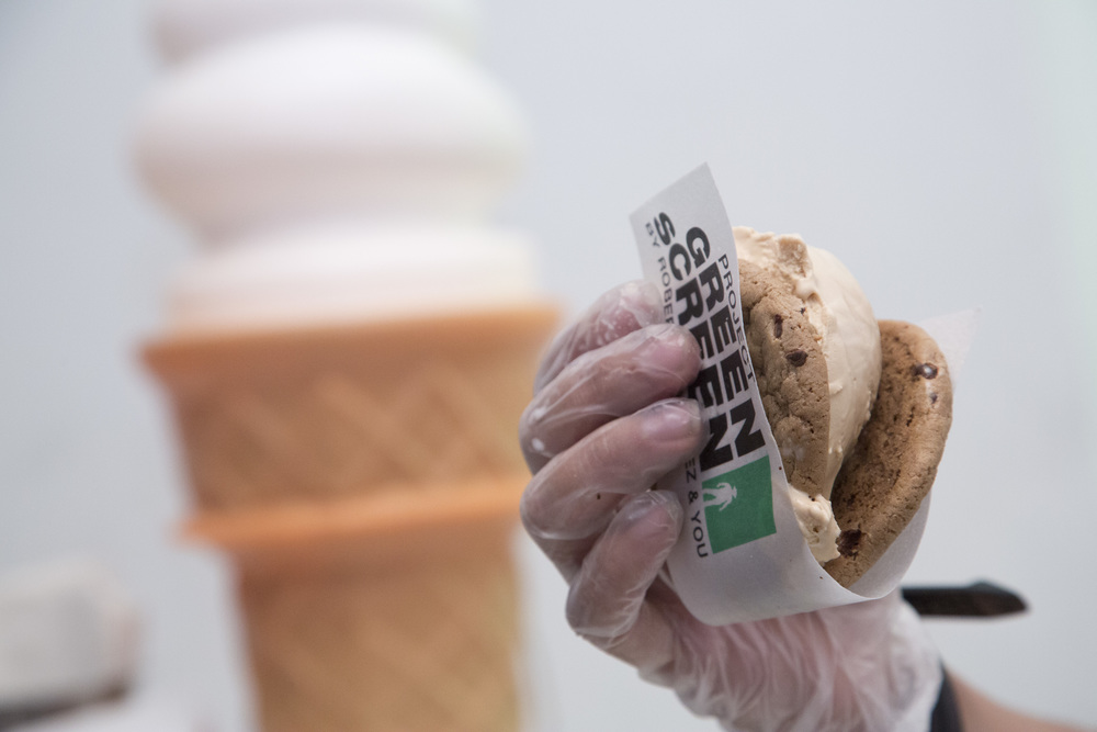 Branded  Project Green Screen  wrappers add the perfect, edible touch to ice cream sandwiches from CoolHaus