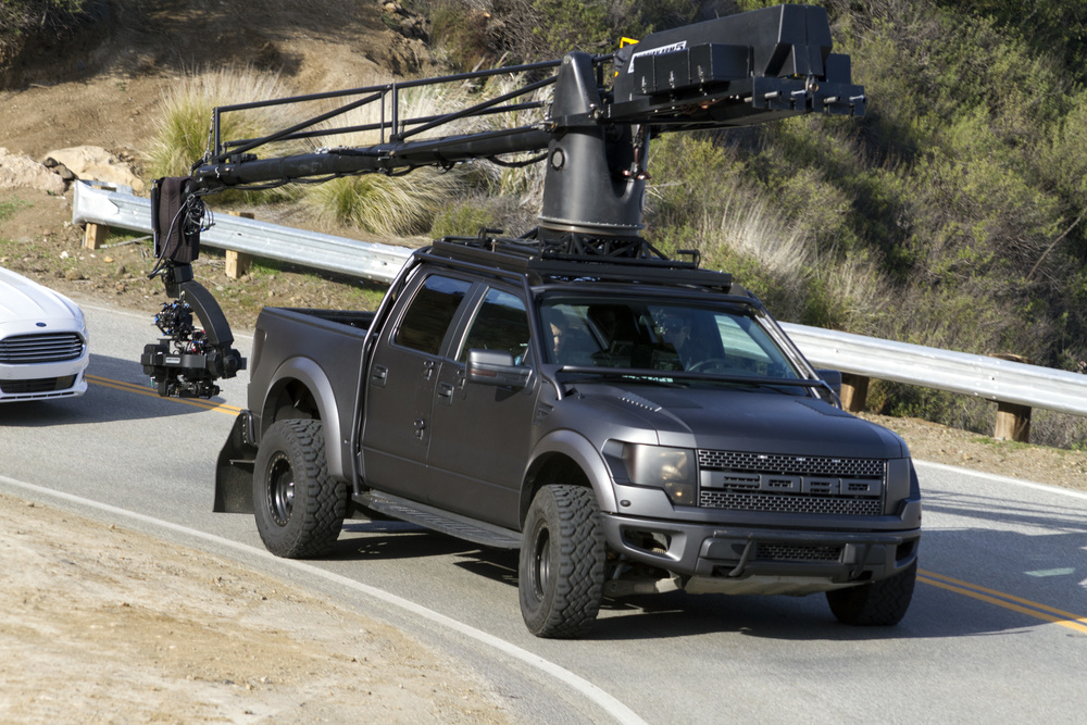 Working the turns in the Ford Raptor camera truck