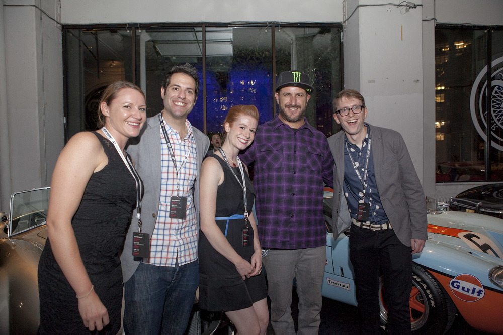 Meaghan Fitzpatrick, Ray Wert, Mallory McMorrow, Ken Block and Matt Hardigree celebrate a successful first night