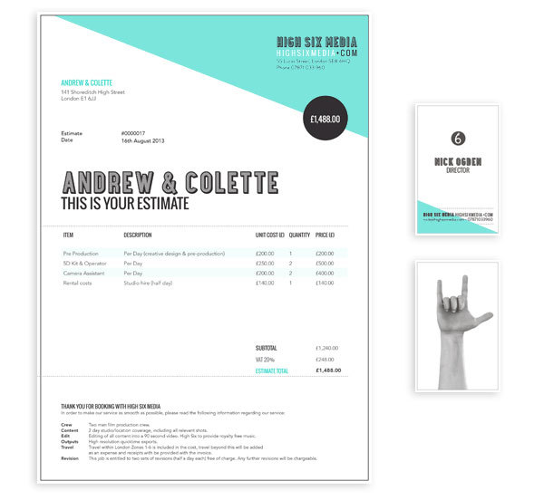 A cohesive, well-designed identity and invoice. Image via High Six Media