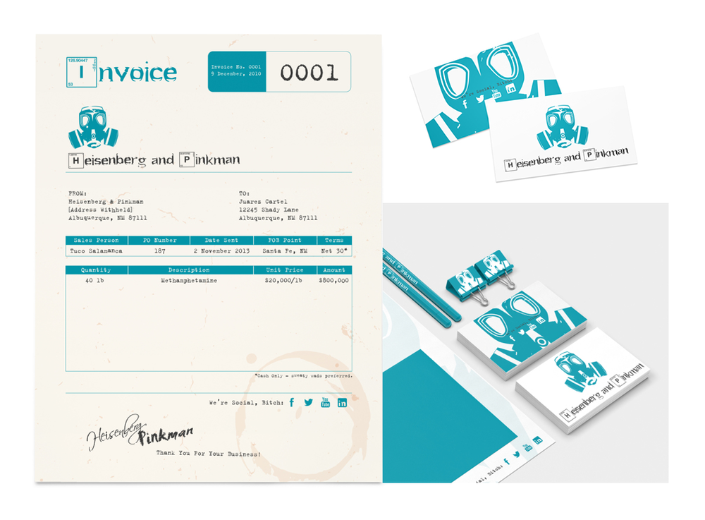Meth dealers need good identity and invoice design too. Brilliant work inspired by Breaking Bad by Andrew Hetzel