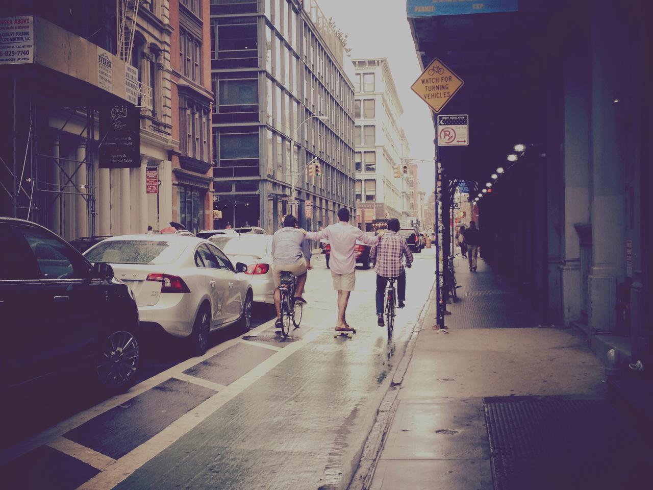 Riding Partners #pepper #skate #bike #soho #friends #sunday #street