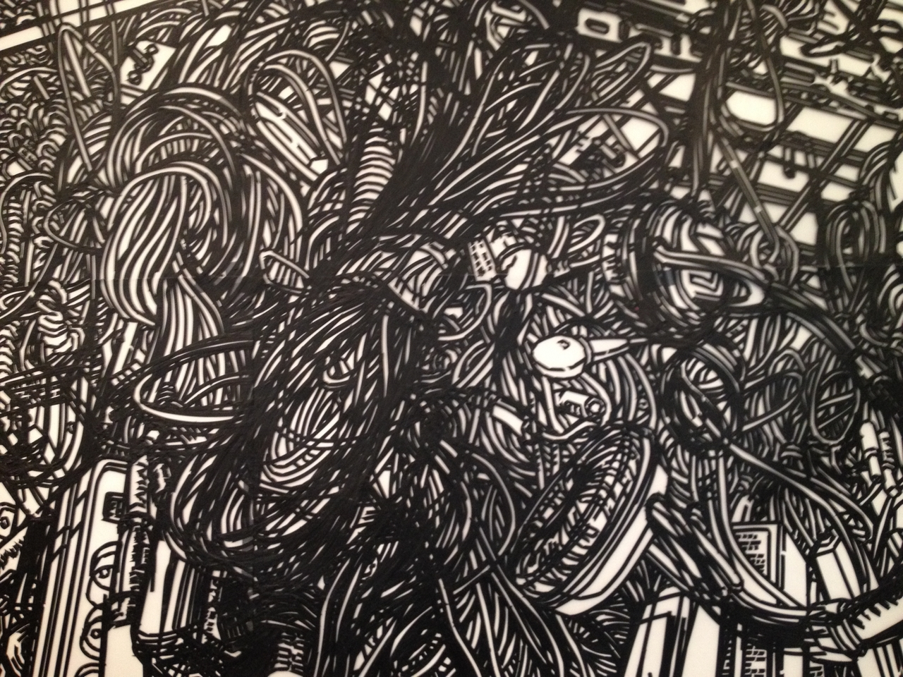 Wall Scribble #pepper #drawing #wall #black #white #lines #nyc #gallery #chelsea