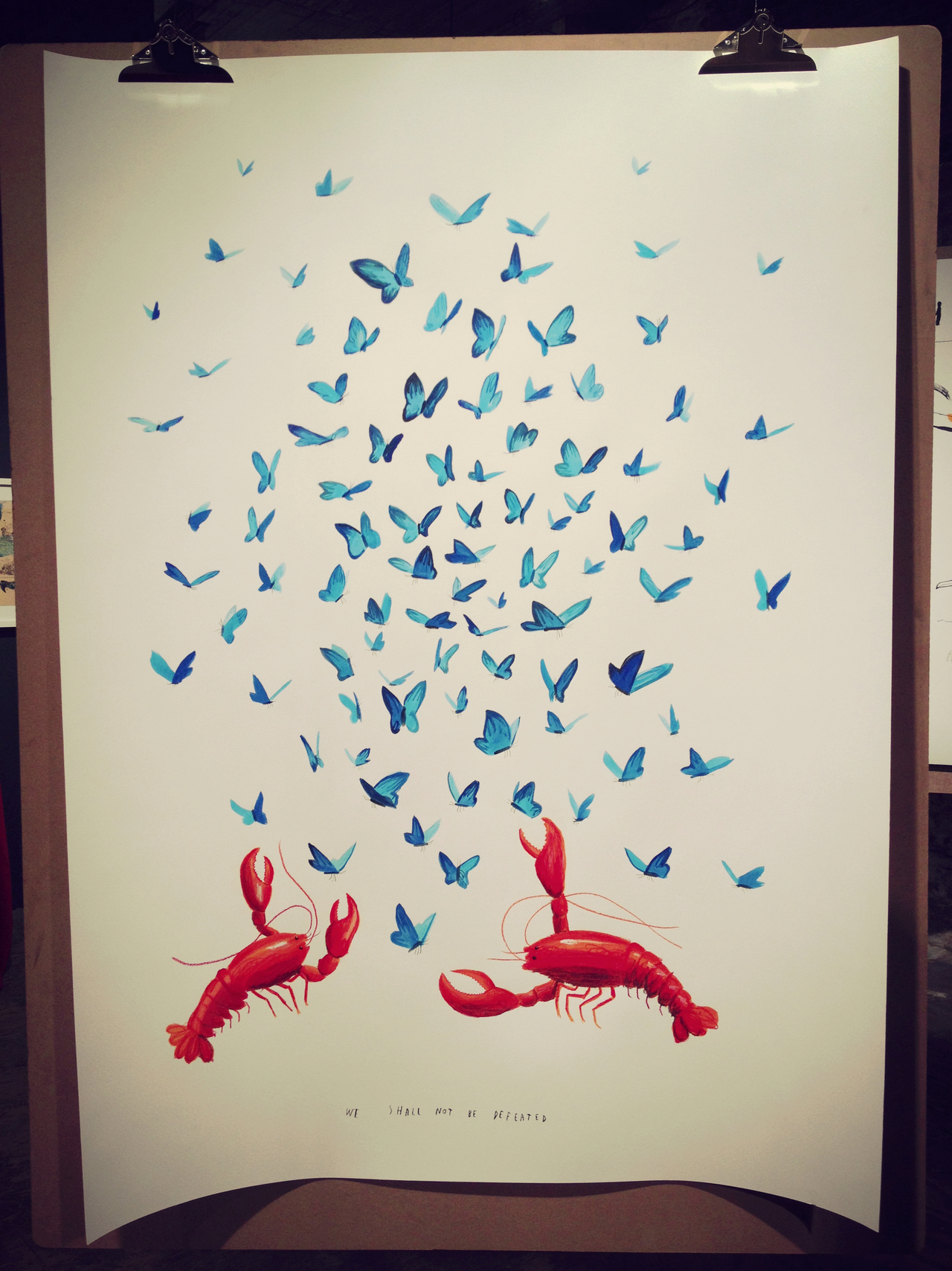 Lobster & Butterflies by Mul Holland Hwang #peppersearching #pepper #photos #lobster #butterflies #red #art #blue