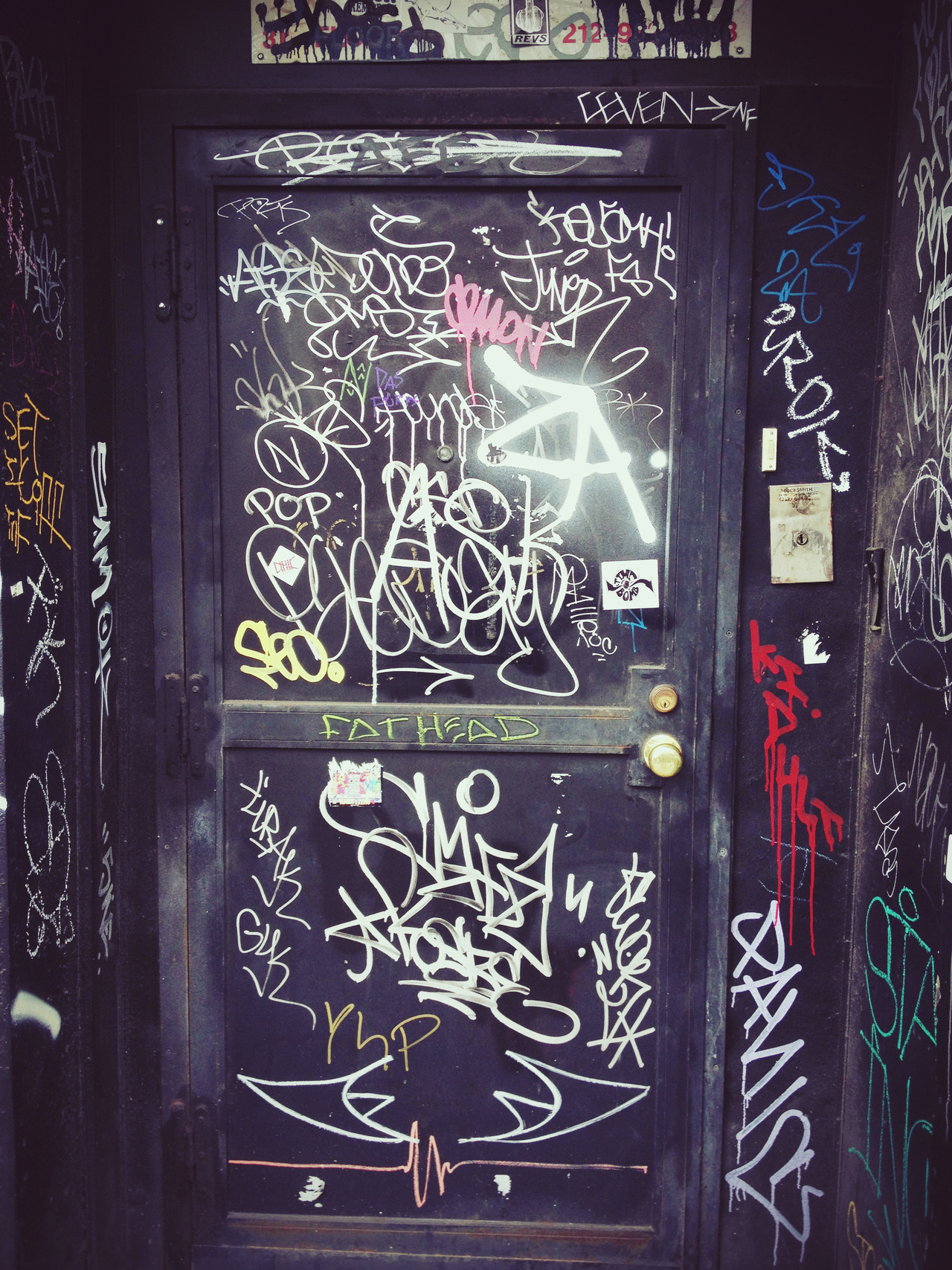 Tag Door in LES #peppersearching #pepper #photos #graffiti #spraypaint #nyc