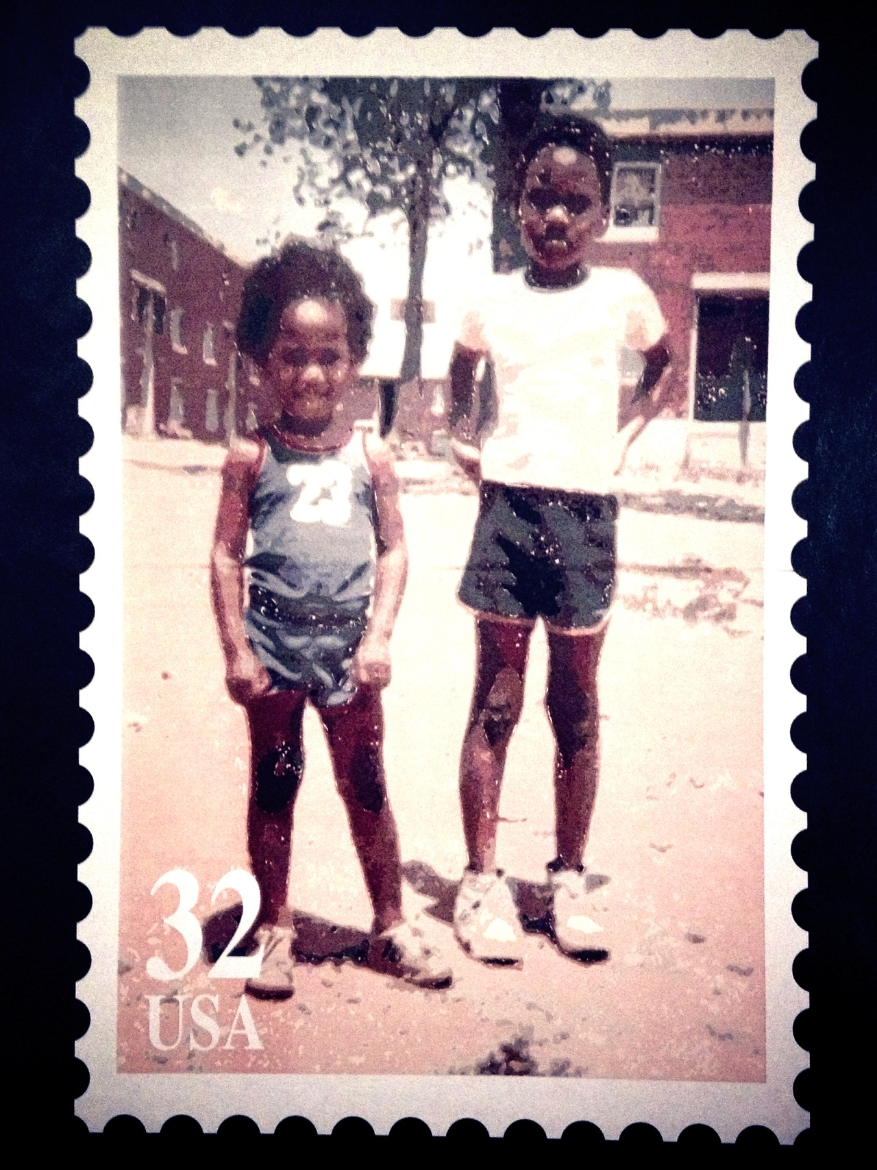 32¢ Cousins #peppersearching #pepper #photos #backindaday #kids #stamp #projects #sneakers