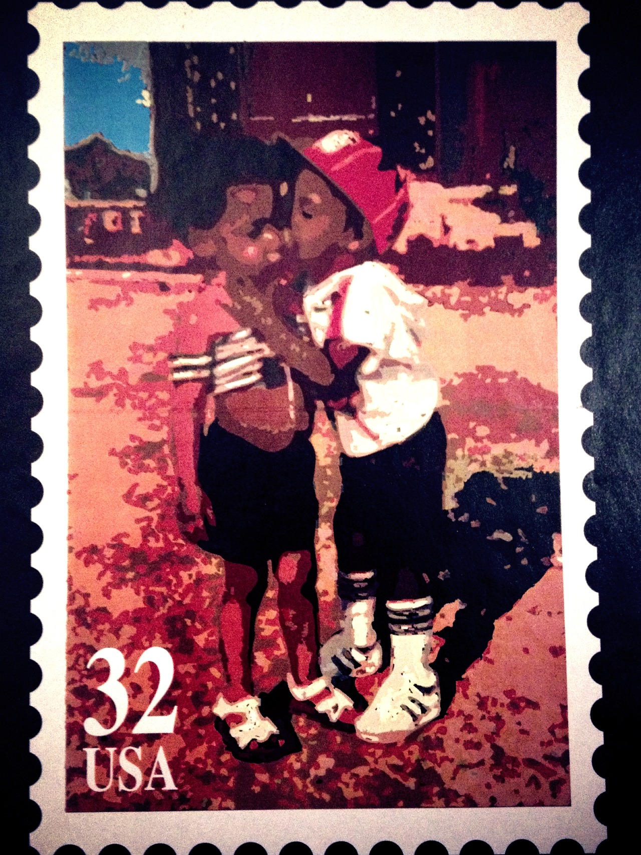 32¢ Kiss #peppersearching #pepper #photos #backindaday #kids #stamp