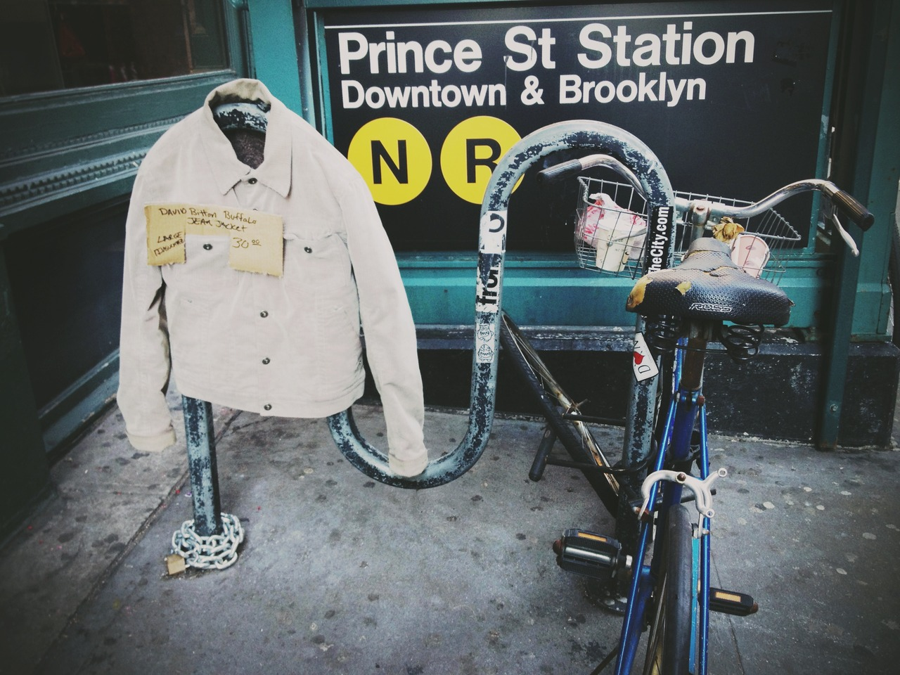 Sell on Prince St. #peppersearching #pepper #photos #subway #denim #bike #sell