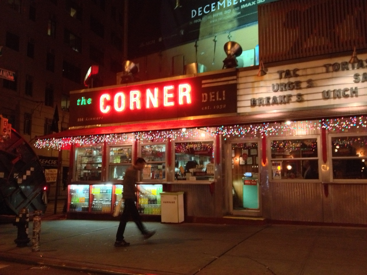 The Corner; Love Tacos - #peppersearcing #pepper #tacos #nyc #manwalking #neosign