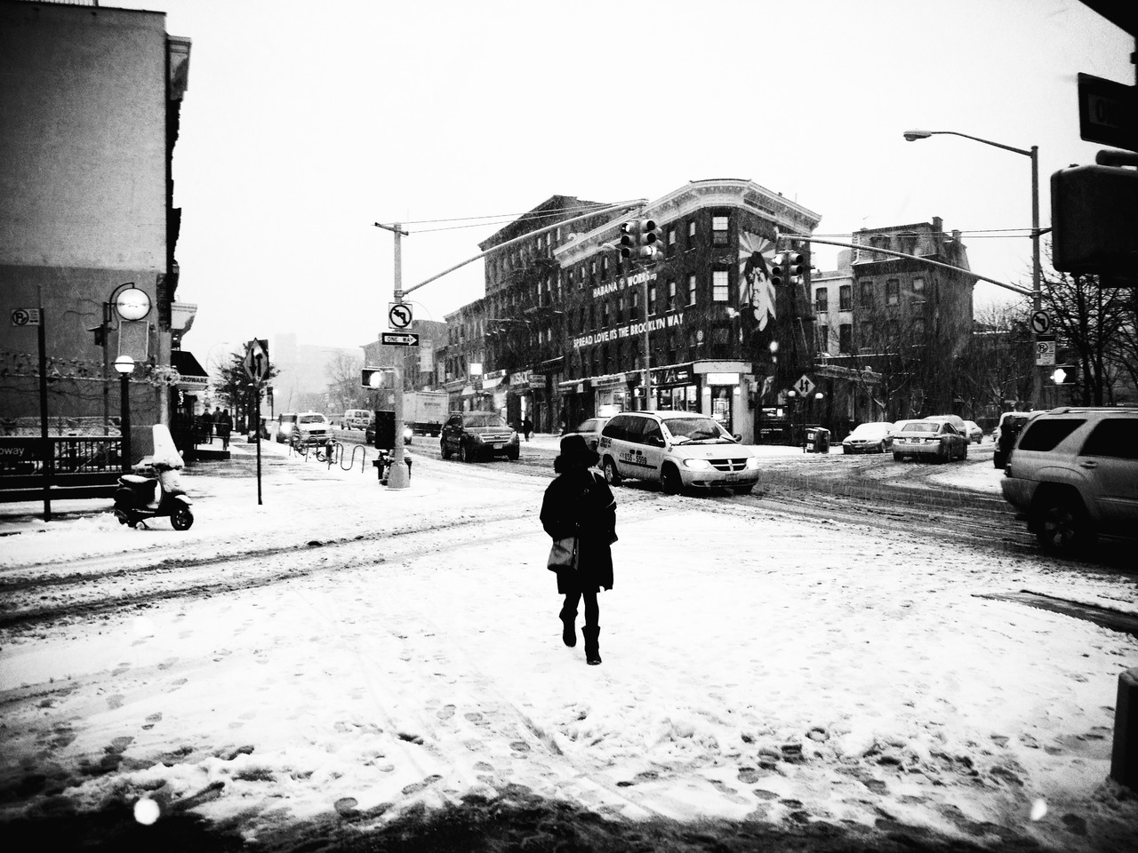 Walking Self #peppersearching #pepper #photos #snow #brooklyn #fortgreene #lady