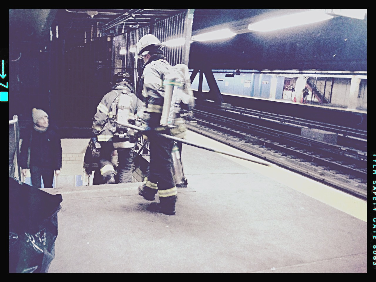 Heroes on a Platform Leaving#peppersearching #pepper #fireman #nyc #brooklyn #mya