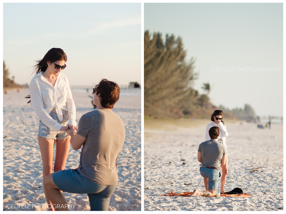Naples Beach Wedding Proposal David Amelia