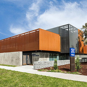 MERNDA POLICE STATION, VIC - CUSTOM PERFORATED CORTEN & PVDF SATIN BLACK Aluminium