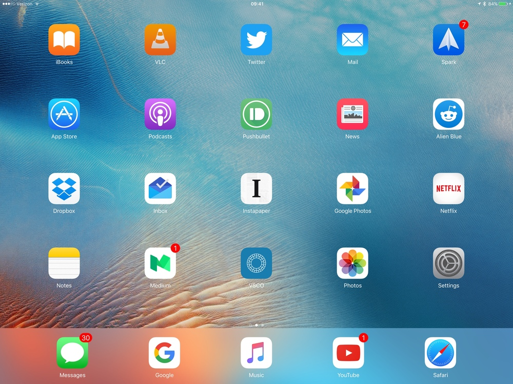 Though the home screen has the same amount of rows—like past iPad's—the space was initially disorienting, but I got used to it.