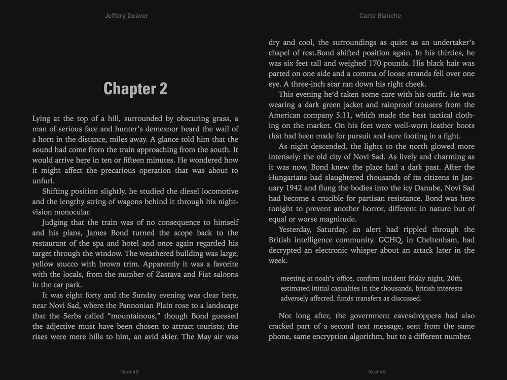 Reading a book in landscape mode lets you see two pages at once.